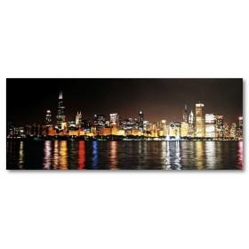 Αφίσα (Chicago, ουρανοξύστες, φώτα, σκοτάδι, θάλασσα, νύχτα)